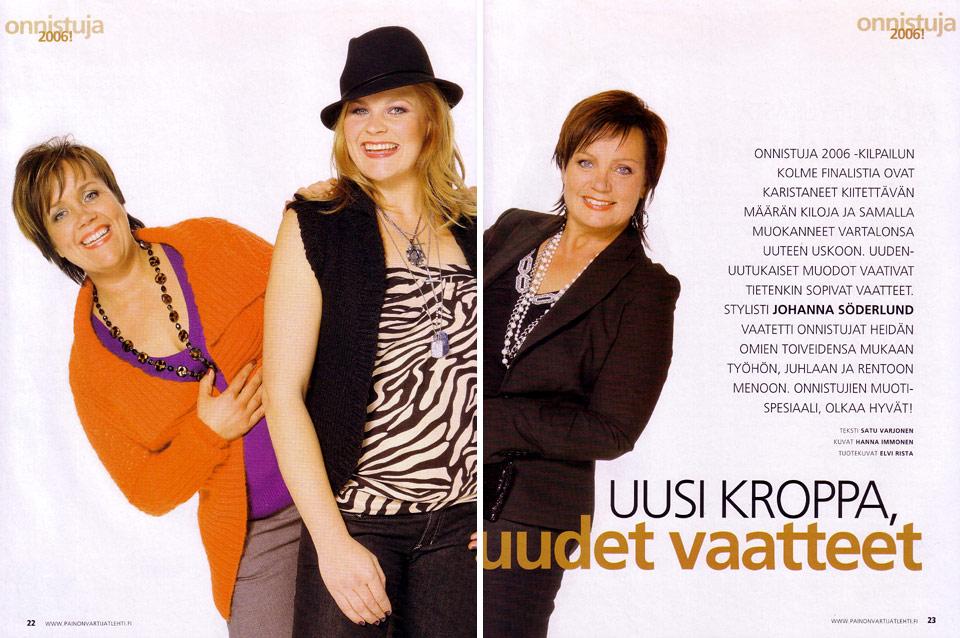 Onnistuja 2006 -kilpailun finalistien stailaus Painonvartijat -lehteen.